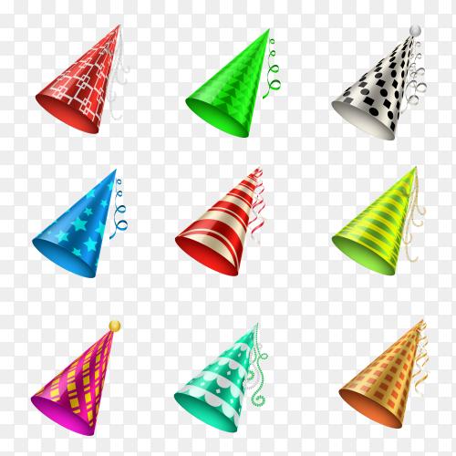 Colorfel party hat cone on transparent PNG