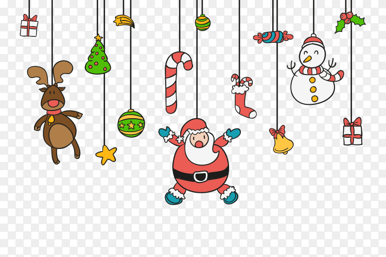 Colorful Christmas Decorations With Santa Claus Ans Gift Vector Png Similar Png