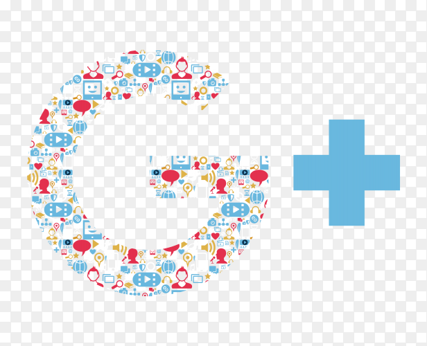 Colorful Google plus icon logo vector PNG