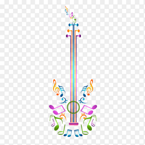 Colorful Guitar notes with transparent PNG