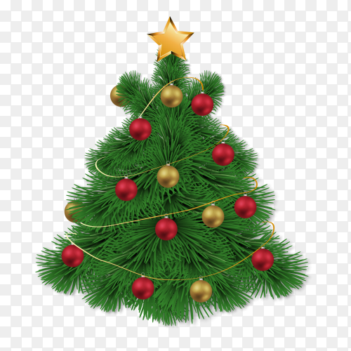 Colorful Christmas tree on transparent PNG