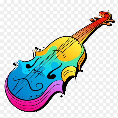 Colorful guitar music with transparent PNG