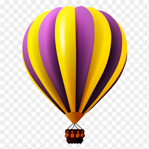 Colorful hot air balloon on transparent PNG