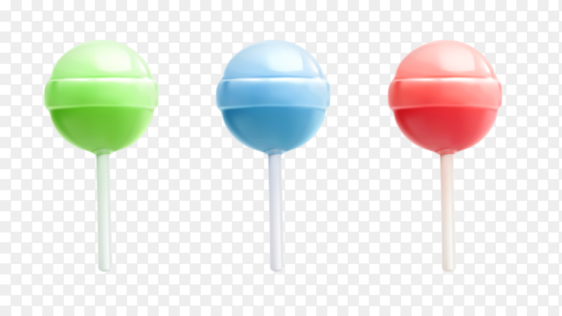 Colorful lollipops on transparent background PNG