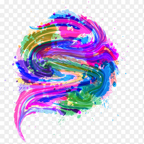 Colorful painting on transparent PNG