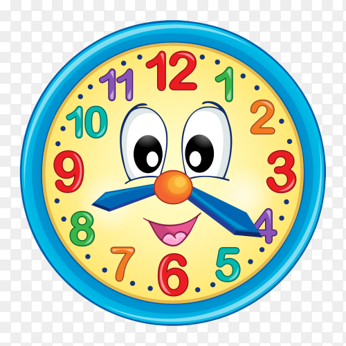 Colorful cartoon wall clock vector PNG