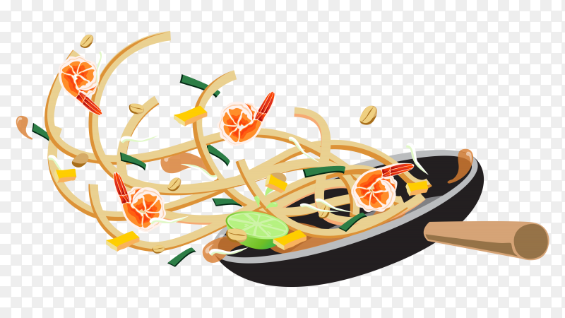 Cooking pasta with shrimp clipart PNG