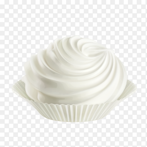 Cupcake with Whipped Cream Clipart PNG