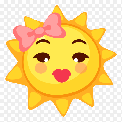 Cut face sun on transparent background PNG