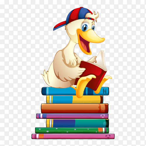 Cute Duck reading  book vector PNG