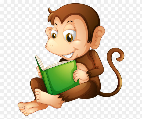 Cute Monkey reading book on transparent PNG