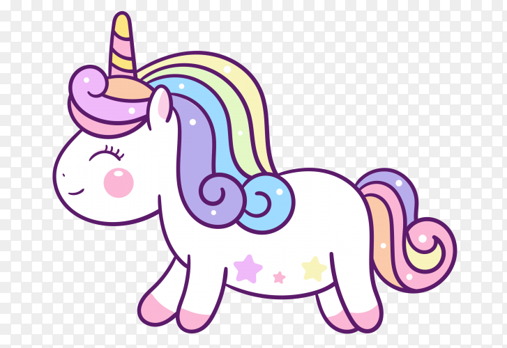 Cute Unicorn Cartoon Illustration on transparent PNG