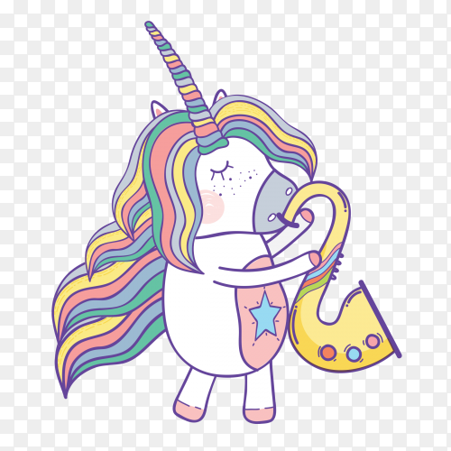 Cute Unicorn blowing his pipe on transparent PNG