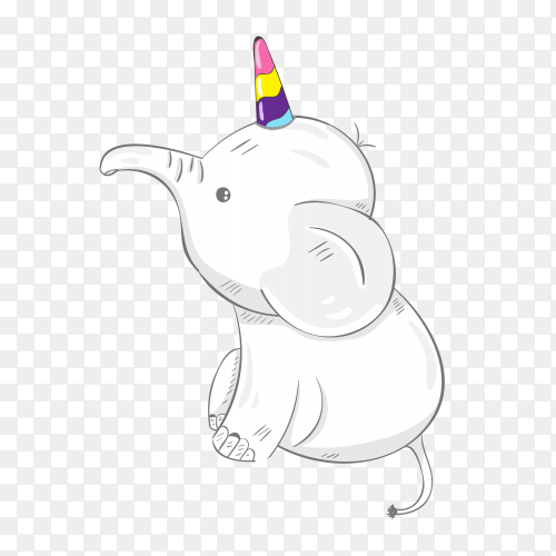Cute cartoon elephant unicorn vector PNG
