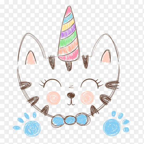 Cute cat on transparent background PNG