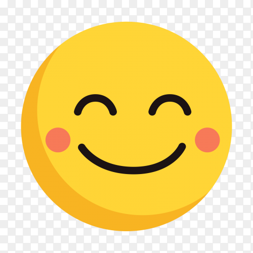 Cute face with smile emoji vectors on transparent background PNG