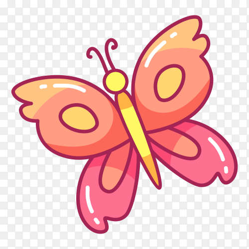 Cute flying butterfly on transparent background PNG
