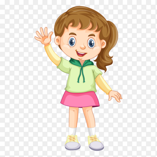 Cute girl rising her hand Clipart PNG
