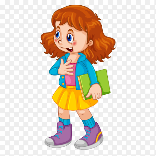 Cute girld holding book vector PNG