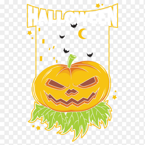 Cute halloween pumpkin with bats vector PNG