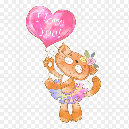 Cute kitty with balloon form heart Clipart PNG