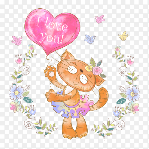Cute kitty with balloon form heart and flower vectror PNG