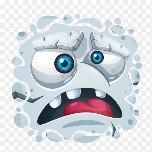 Cute monster character gray on transparent PNG