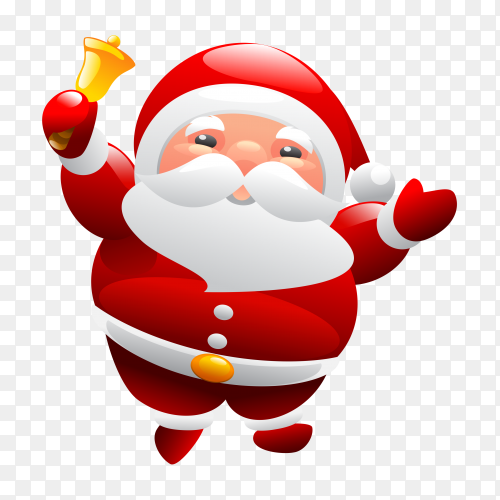 Cute Santa Claus carrying bell clipart PNG