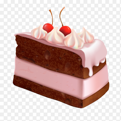 Delicious Pink cake vector PNG