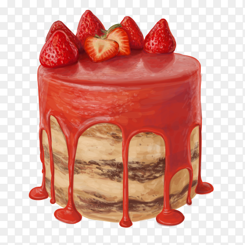 Delicious Strawberry red cake vector PNG