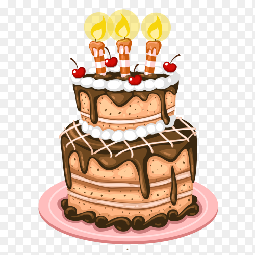 Delicious cake with Candle vector PNG