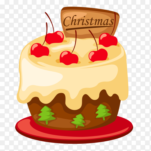 Delicious cake with red cherry vector PNG