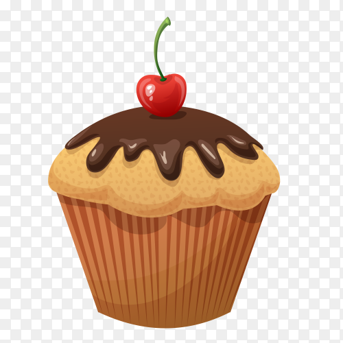Delicious chocolate cupcake vector PNG