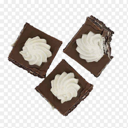 Dessert chocolate cake with cream vector PNG