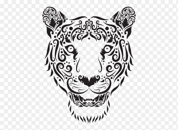 Drawn Tiger on transparent background PNG