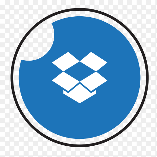 Dropbox logo in a circle with black frame Clipart PNG