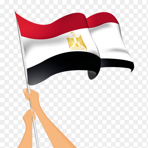 Egypt flag waving with Egyptian hands on transparent PNG