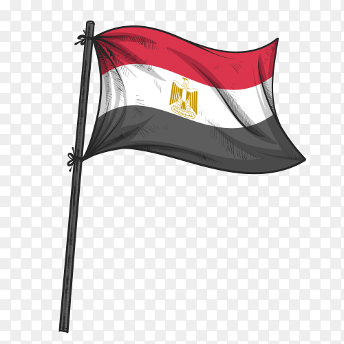 Egyptian Flag hand drawn on transparent PNG