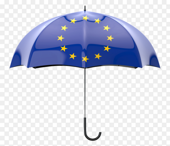 European Union flag shaped on an umbrella on transparent PNG