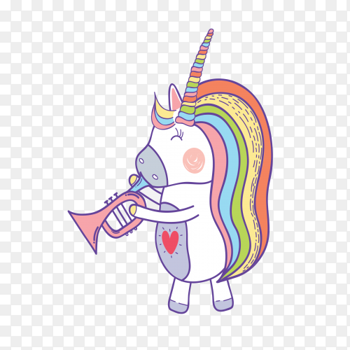 Female cute unicorn blowing on transparent PNG