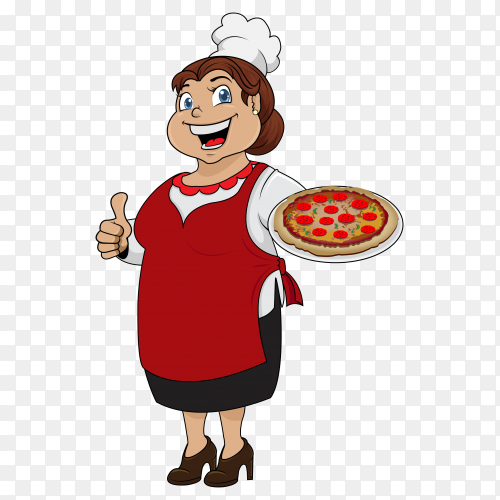 Female pizza chef thumbs up Clip art PNG