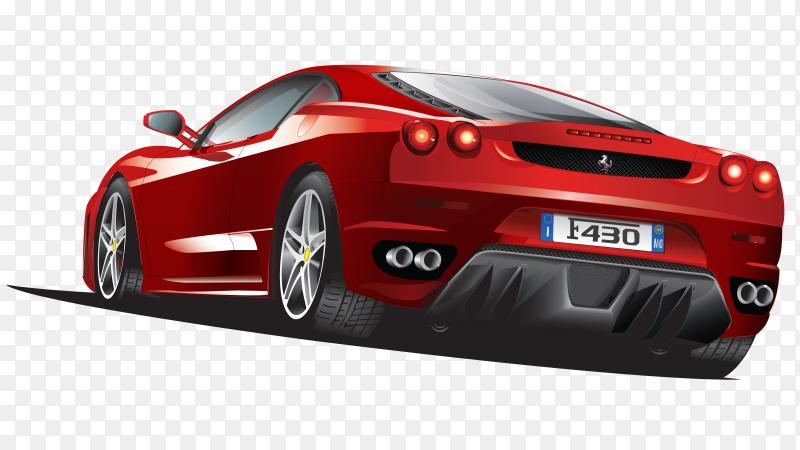 Ferrari sports car vector on transparent background PNG