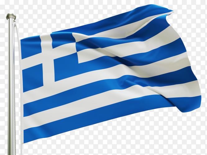 Flag Greece waving on transparent background PNG