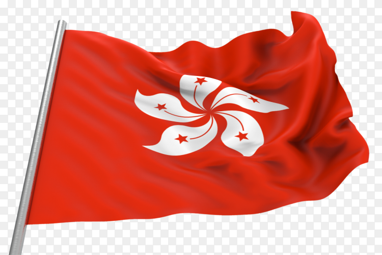 Flag Hong Kong waving on transparent background PNG