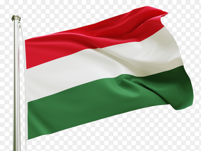 Flag Hungary waving on transparent background PNG