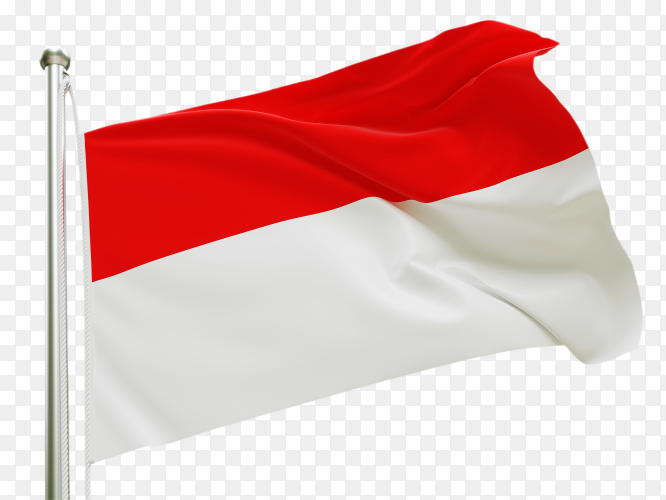 Flag Indonesia waving on transparent background PNG