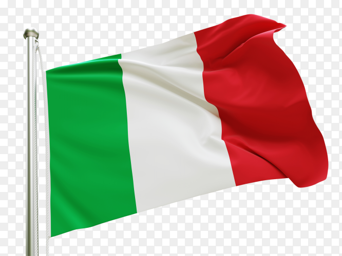 Flag Italy waving on transparent background PNG