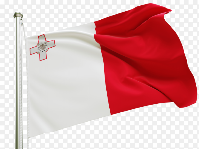 Flag Malta waving on transparent background PNG