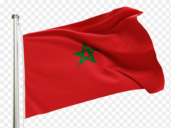 Flag Morocco waving on transparent background PNG