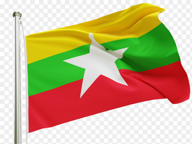 Flag Myanmar waving on transparent background PNG